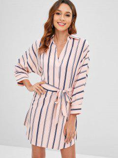 Striped V Neck Belted Dress - Deep Peach M