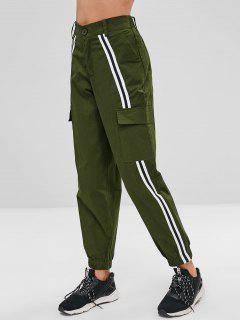 Stripe Patch Pants - Army Green M