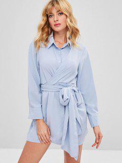 Twist Tie Shirt Dress - Light Blue
