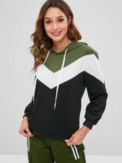 Hit Color V-shaped Stripe Hoodie - Multi-b S