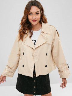 Double Breasted Short Trench Coat - Antique White L