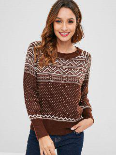 Graphic Raglan Sleeve Sweater - Coffee