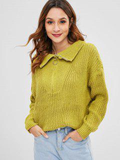 Suéter De Gran Tamaño Con Media Cremallera En El Anillo - Verde De Aguacate