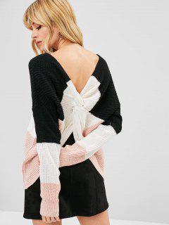 Striped V Neck Twist Sweater - Multi-b