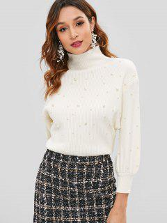 Faux Pearls Mock Neck Pullover - Warmweiß