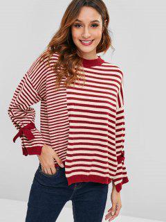 Übergroße Streifen Asymmetrischer Pullover - Multi