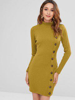 ZAFUL High Neck Buttoned Short Knit Dress - Ginger Brown S