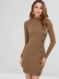 ZAFUL High Neck Buttoned Short Knit Dress - Dark Khaki M