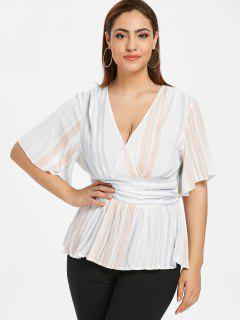 ZAFUL Striped Plus Size Surplice Blouse - Multi 1x