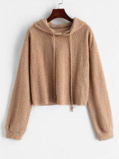 ZAFUL Solid Color Crop Faux Fur Hoodie - Light Khaki S