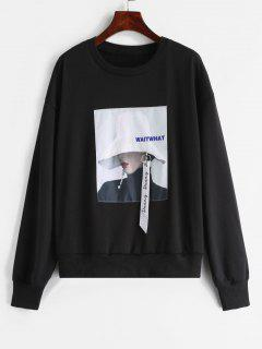 ZAFUL Portrait Patched Embellished Sweatshirt - Black L