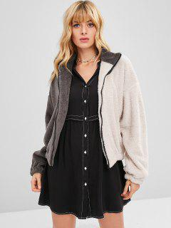 Two Tone Zip Up Flauschige Jacke - Multi L