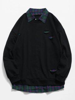 Plaid Shirt False Two Piece Sweatshirt - Black M