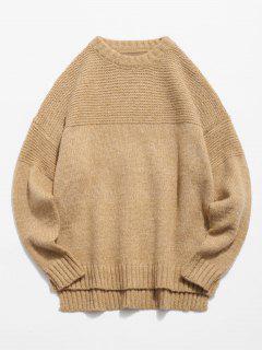 Asymmetrical Hem Knit Pullover Sweater - Camel Brown Xl
