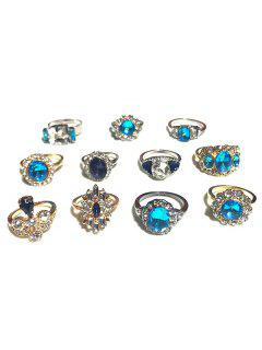 11pcs Rhinestone Floral Shape Rings - Gold