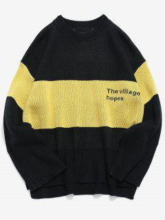 High Low Embroidery Color Block Sweater - Black S