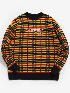 Rundhalsausschnitt Mit Stickerei Plaid Sweater - Gelb Xl