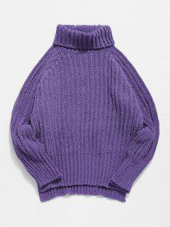 Raglan Sleeves Turtleneck Cable Knit Chunky Sweater - Purple L