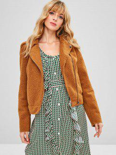 Zip Pocket Faux Fur Winter Biker Jacket - Brown L