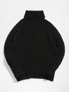 Raglan Sleeves Turtleneck Cable Knit Chunky Sweater - Black S