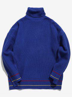 Rollkragen Streifen Trim Drop Schulter Chunky Sweater - Knallblau Xl