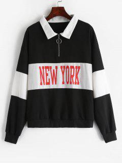 ZAFUL Zipped Collared Graphic Pullover Sweatshirt - Black S