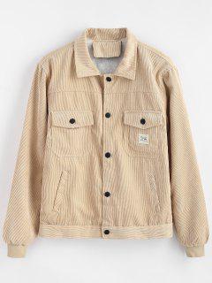 Applique Pockets Corduroy Coat - Light Khaki L