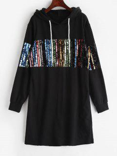 ZAFUL Short Sequined Hoodie Dress - Black L