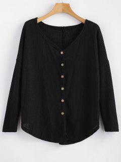 Button Up Drop Shoulder V Neck Cardigan - Black M