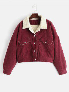 Borg Lined Corduroy Winter Jacket - Red Wine S