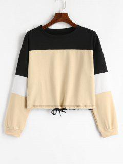 Drawstring Color Block Pullover Sweatshirt - Khaki M