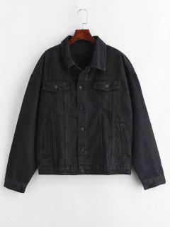 Embroidery Patchwork Denim Jacket - Black