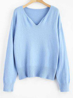 Cotton Drop Shoulder Sweater - Day Sky Blue