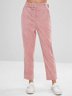 Solid Color Belted Corduroy Pants - Pink L