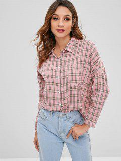 Chemise à Carreaux à Goutte Epaule Avec Poche - Rose Léger  M