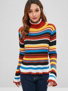 Suéter De Cuello A Rayas Con Cuello Alto - Multicolor S