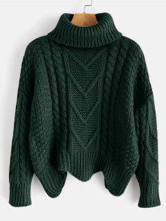 Suéter De Cuello Alto De Punto Grueso - Verde De Bosque Oscuro