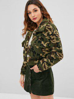 Camo Faux Shearling Teddy Coat - Acu Camouflage S