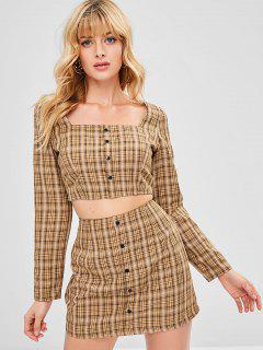 Buttoned Plaid Top And Skirt Set - Camel Brown L