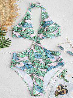 ZAFUL Leaf Backless Halter Swimsuit - Pink M
