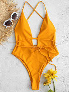 ZAFUL Backless Plunging High Leg Swimsuit - Bee Yellow S