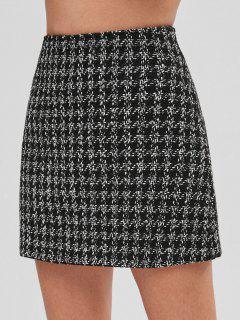 Tweed Mini Plaid Skirt - Black M