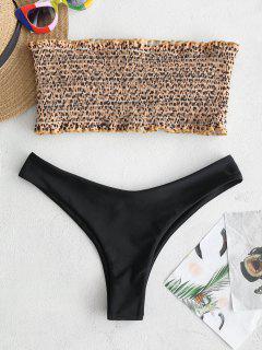 ZAFUL Frilled Smocked Bikini Set - Bee Yellow M