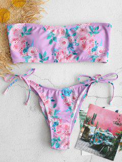 ZAFUL Floral Bandeau Scrunch Butt Bikini Set - Mauve L
