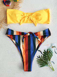 ZAFUL Knot Colorful Stripe Bandeau Bikini Set - Rubber Ducky Yellow L