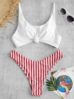 ZAFUL Brazilian Flag Print Contrast Striped Knot Bikini Set - Red M