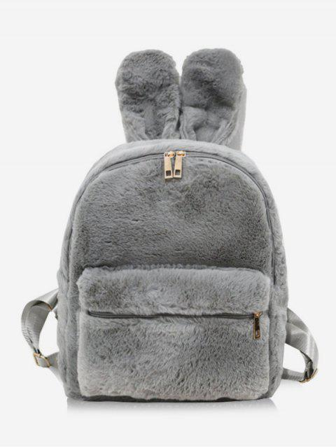 shop Faux Fur Rabbit Ear Shape Backpack - GRAY  Mobile