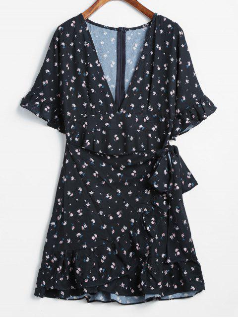 Mini-Robe Superposée Imprimée à Volants - Noir M Mobile