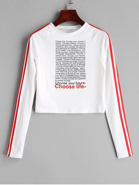 T-shirt Court Graphique à Manches Raglan - Blanc L Mobile