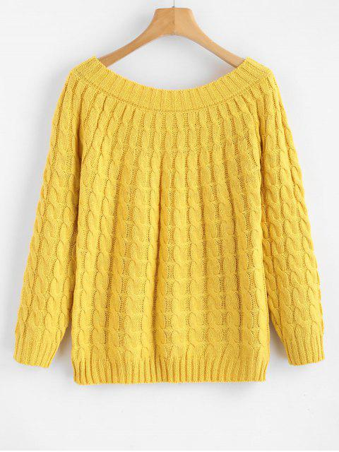 outfits Boat Neck Cable Knit Sweater - YELLOW ONE SIZE Mobile